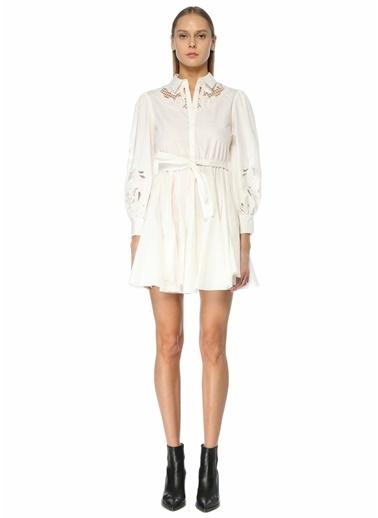 Maje Maje  Dantel Garnili Balon Kol Mini Elbise 101627568 Beyaz